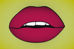 Pop art sexy seductive lips with visible teeth on yellow Stock Images