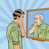 Pop Art Shocked Man Looking at Older Himself Stock Photos