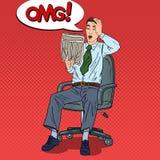 Pop Art Shocked Man Reading Newspaper and Grabbed His Head. Bad News vector illustration