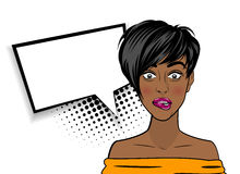 Pop art shocked sexy African American black woman. Beautiful black sexy shocked girl, short hair, open mouth style pop art speak oops. Comic book halftone Stock Photo