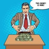 Pop Art Sinister Businessman Wants som griper pengarna Arkivbilder