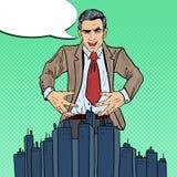 Pop Art Sinister Businessman Wants som griper staden Royaltyfria Bilder