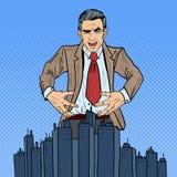 Pop Art Sinister Businessman Wants som griper staden Royaltyfri Fotografi