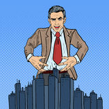 Pop Art Sinister Businessman Wants to Seize the City Royalty Free Stock Photography