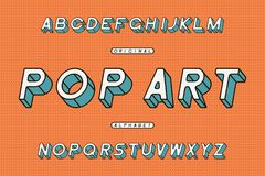 Pop Art slanted font. Retro sans serif alphabet. Stylized rounded framed typeface. Vector. Pop Art slanted font. Retro sans serif alphabet. Stylized rounded royalty free illustration