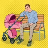 Pop Art Sleepless Father with Baby Stroller vector illustration