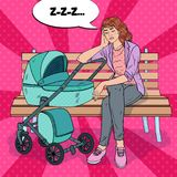 Pop Art Sleepless Young Mother with Baby Stroller. Pop Art Sleepless Young Mother Sitting on the Park Bench with Baby Stroller. Motherhood Concept. Exhausted Stock Image