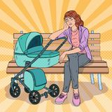 Pop Art Sleepless Young Mother with Baby Stroller. Pop Art Sleepless Young Mother Sitting on the Park Bench with Baby Stroller. Motherhood Concept. Tired Woman Royalty Free Stock Photo