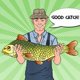 Pop Art Smiling Fisherman with Big Fish. Good Catch Royalty Free Stock Photo