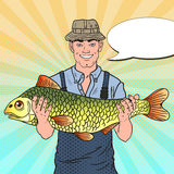 Pop Art Smiling Fisherman with Big Fish. Good Catch Stock Images