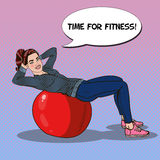 Pop Art Smiling Fit Woman Exercising on Fitness Ball in Gym. Vector illustration Royalty Free Stock Images