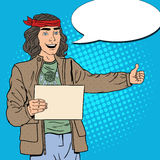 Pop Art Smiling Hitchhiking Hippie Tourist with Blank Sheet. Vector illustration Stock Image