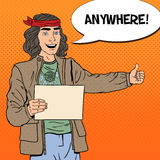 Pop Art Smiling Hitchhiking Hippie Tourist with Blank Sheet. Vector illustration Royalty Free Stock Image