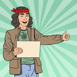Pop Art Smiling Hitchhiking Hipster Tourist with Blank Sheet. Vector illustration Stock Images