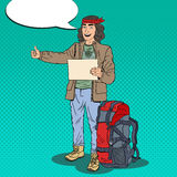 Pop Art Smiling Hitchhiking Man Hipster with Backpack. Vector illustration Stock Photo