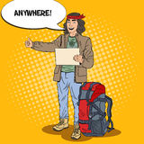 Pop Art Smiling Hitchhiking Man Travel with Backpack. Vector illustration Stock Image
