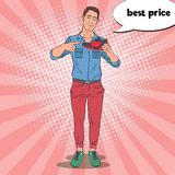 Pop Art Smiling Man Advertising New Sport Shoes. Guy with Sneakers. Vector illustration Stock Photography
