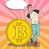 Pop Art Smiling Man with Big Bitcoin. Cryptocurrency Concept. Vector illustration Royalty Free Stock Photo