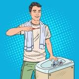 Pop Art Smiling Man Brushing Teeth in Bathroom. Dental Hygiene royalty free illustration