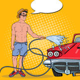 Pop Art Smiling Man Washing His Classic Car Stock Images