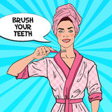 Pop Art Smiling Pretty Woman with Toothbrush. Dental Hygiene stock illustration