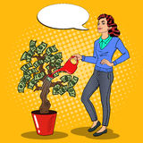 Pop Art Smiling Rich Woman Watering Money Tree with Comic Speech Bubble. Vector illustration Stock Photos