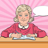 Pop Art Smiling Schoolgirl Doing Homework. Educational Concept vector illustration