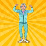 Pop Art Smiling Senior Mature Woman Showing Muscles. Healthy Lifestyle. Happy Grandmother vector illustration