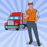 Pop Art Smiling Trucker Standing in front of a Truck. Professional Driver