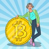 Pop Art Smiling Woman with Big Bitcoin. Cryptocurrency Concept. Vector illustration Royalty Free Stock Photography
