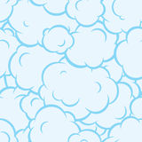 Pop art smoke seamless vector pattern blue Royalty Free Stock Photo