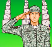 pop art soldier render military salute on the background of rows of grave stones with national flags Stock Photos