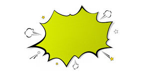 Pop art splash background, explosion in comics book style, blank layout template with halftone dots, cloud and beams vector illustration