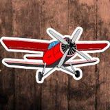 Pop art sticker. Hand drawing retro airplane Royalty Free Stock Image