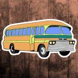 Pop art sticker. Hand drawing retro bus.Vector Royalty Free Stock Photos