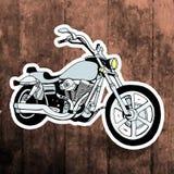 Pop art sticker. Hand drawing retro motorbike Stock Photography