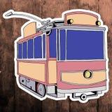 Pop art sticker. Hand drawing retro tram.Vector Royalty Free Stock Photo