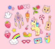 Pop art stickers comic style with cartoon animals, unicorn, kitten, dreamcatcher, guitar and rainbow. Pop art stickers set comic style with cartoon animals Royalty Free Stock Photo