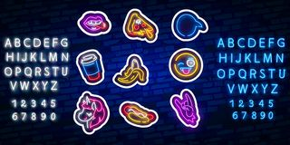 Set of girls fashion cute neon patches. Pop art stickers. Pop art patches, pins, and badges. Neon sign, emblem. pizza. Pop art stickers. Pop art patches, pins vector illustration