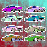 Pop art stickers set. Hand drawing lowrider Royalty Free Stock Photos