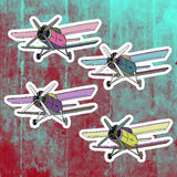 Pop art stickers set. Hand drawing retro airplane Stock Photos