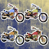 Pop art stickers set. Hand drawing retro motorbike Royalty Free Stock Image