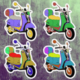 Pop art stickers set. Hand drawing retro scooter Royalty Free Stock Images
