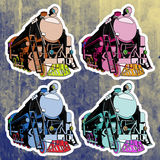 Pop art stickers set. Hand drawing retro train Royalty Free Stock Photos