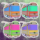 Pop art stickers set. Hand drawing retro tram Stock Image
