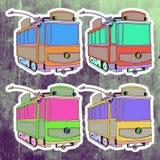 Pop art stickers set. Hand drawing retro tram Stock Image