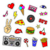 Pop art stickers with tape recorder, cassette, vinyl record, fast food, hand, lips and other elements. Set of pins, patches in cartoon 80s-90s retro comic Stock Photo