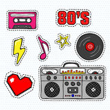 Pop art stickers with tape recorder, cassette, vinyl record and other elements. Set of pins, patches in cartoon 80s-90s retro comic style Royalty Free Stock Image