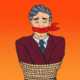 Pop Art Stressed Businessman Tied Up with Rope. Business Problems Stock Images