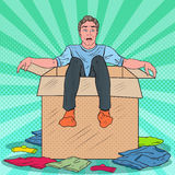 Pop Art Stressed Man in the Box with Clothes. Guy Moving with the  Boxes to new House. Vector illustration Stock Image